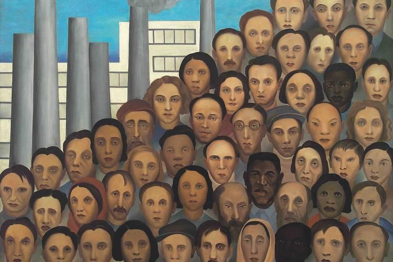 'Operários', pintura à óleo de Tarsila do Amaral de 1933