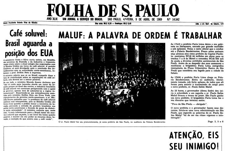 1969: Maluf assume a prefeitura e fala sobre combate à ideologia marxista