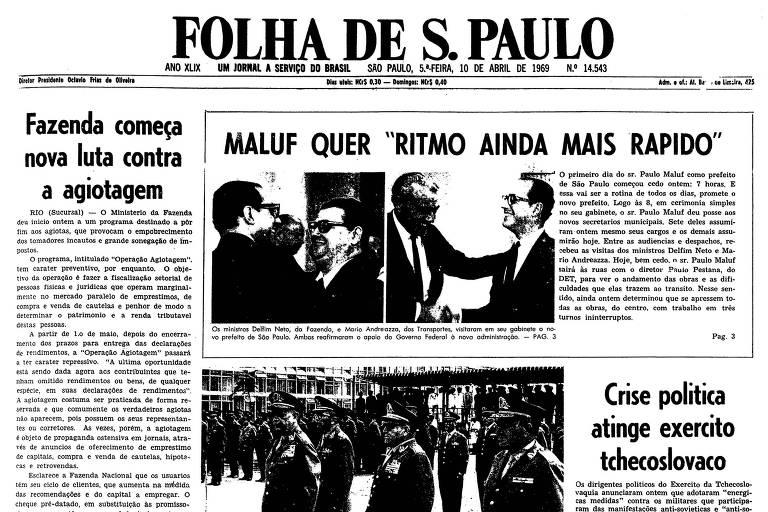 1969: Em seu primeiro ato na prefeitura, Paulo Maluf dá posse a secretários