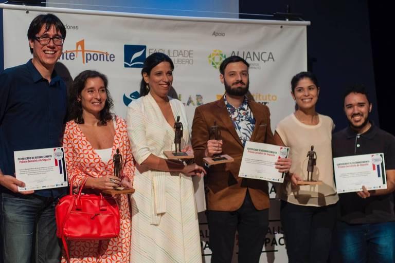 Os vencedores Marcelo Moura de Souza Santos (esq.), Eliane Trindade (centro), Giacomo Vicenzo Fanasca e Jussi Maria