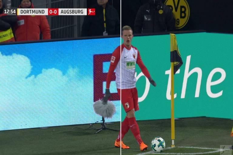 Placas de publicidade digitais no Campeonato Alemão mudam de acordo com o local da transmissão