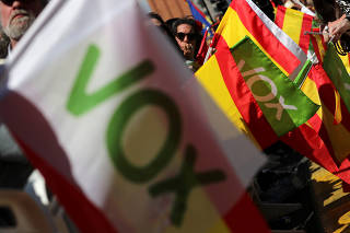 Spain's far-right party VOX holds a demonstration in Barcelona
