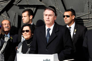 Brazilian President Jair Bolsonaro delivers a statement at Yad Vashem World Holocaust Remembrance Center in Jerusalem