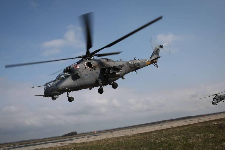 Helicóptero de ataque Mi-35, variante do Mi-24 que foi derrubado nesta segunda na Armênia