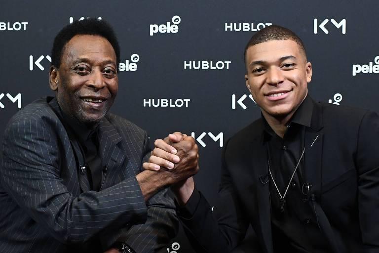 Pelé e Mbappé se encontraram durante evento de uma marca de relógios