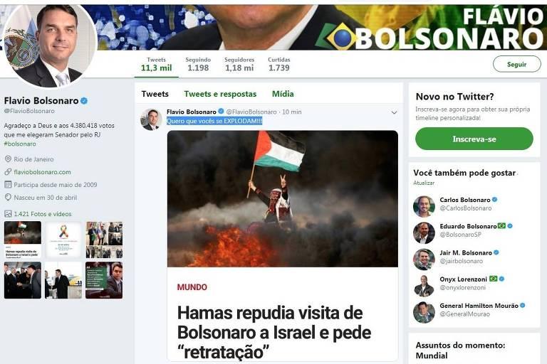 A postagem do senador Flávio Bolsonaro (PSL-RJ), que depois foi apagada