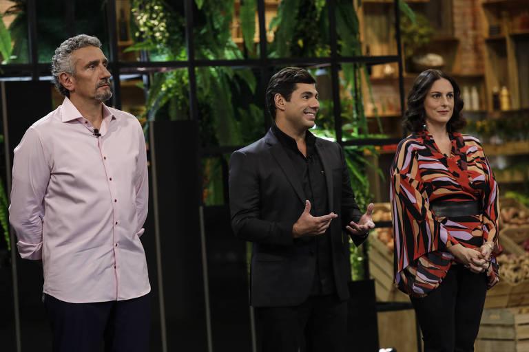 Emmanuel Bassoleil, Felipe Bronze e Ailin Aleixo apresentam o Top Chef Brasil