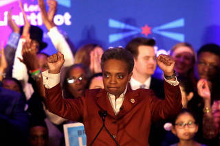 Mayoral candidate Lori Lightfoot clinches her fists as she speaks during her election night celebration after defeating her challenger Toni Preckwinkle in a runoff election in Chicago