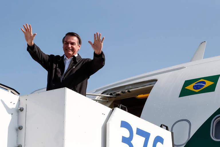 O presidente Jair Bolsonaro (PSL), ao partir de Israel de volta para o Brasil. Ele deve abrir mais sua agenda para receber líderes partidários