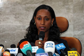Ethiopian transport minister Dagmawit Moges addresses a news conference on the preliminary report to the Ethiopian Airlines ET 302 plane crash in Addis Ababa
