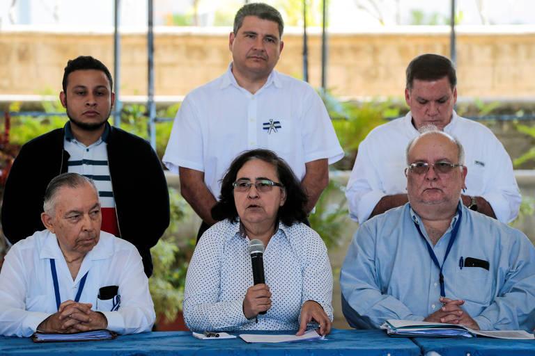 Membros da opositora Aliança Cívica durante entrevista coletiva em Managua, na Nicarágua