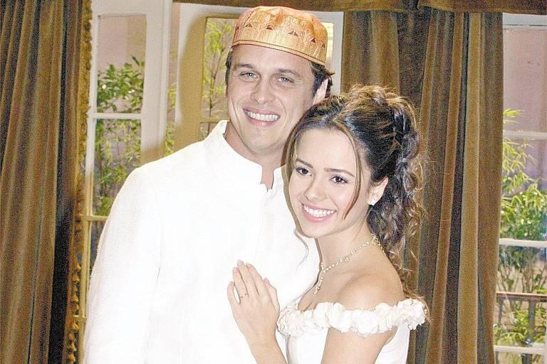 Guilherme Fontes e a cantora Sandy em cena de 'Estrela-Guia', da Globo
