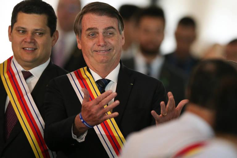 O presidente Jair Bolsonaro em evento de comemoração ao aniversário da Justiça Militar da União