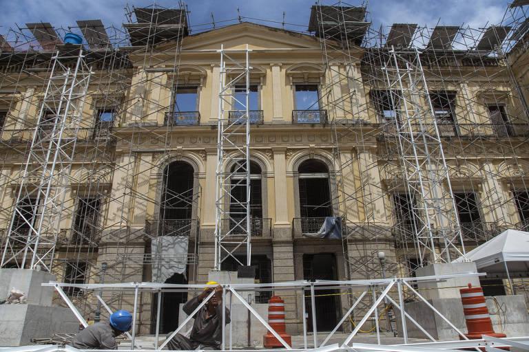 Museu Nacional, durante trabalhos de recuperação, após o incêndio que o consumiu em setembro de 2018