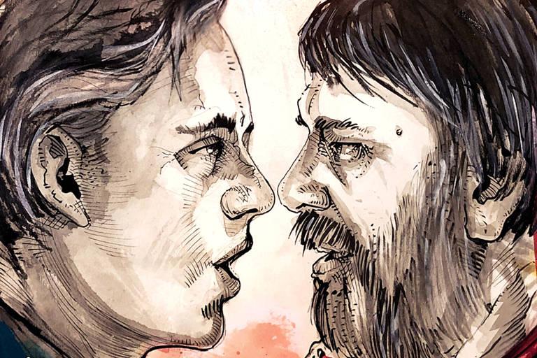 Ilustração de Carcarah mostra Jordan Peterson (esq.) e Slavoj Zizek