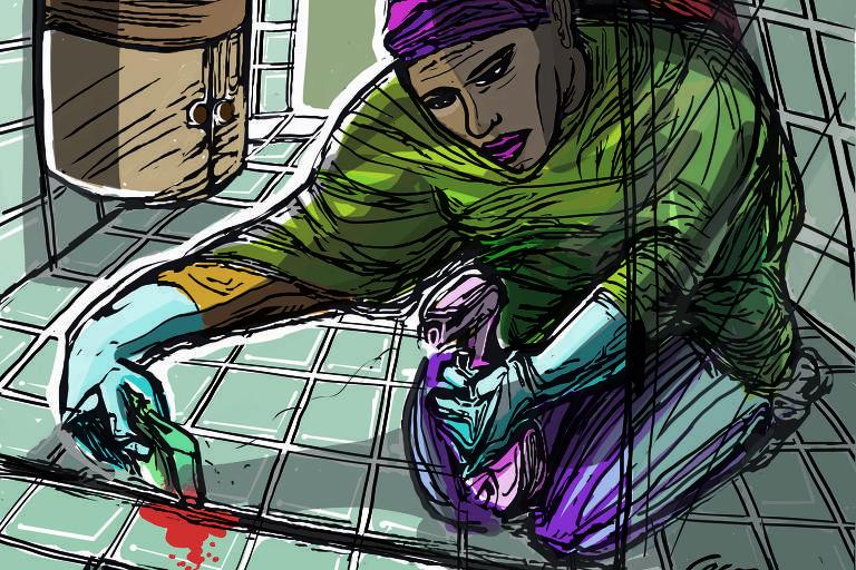 Em livro nigeriano, mulher limpa sangue após irmã cometer crime