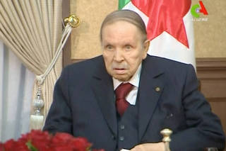 FILE PHOTO: Algeria's President Abdelaziz Bouteflika looks on during a meeting with army Chief of Staff Lieutenant General Gaid Salah in Algiers
