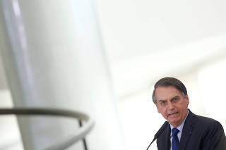 Brazil's President Jair Bolsonaro speaks during a promotion ceremony for generals of the armed forces, at the Planalto Palace in Brasilia
