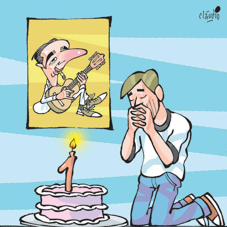 Ilustração do colunista ajoelhado e rezando em frente a um bolo, com um quadro de Noel Rosa ao fundo