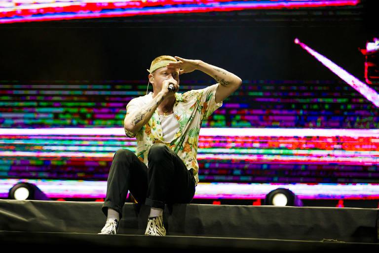 Show do cantor Macklemore, durante o primeiro dia do festival Lollapalooza 2019, no autódromo de Interlagos, em São Paulo