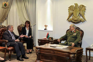 Secretary General of the United Nations Antonio Guterres meets with Libyan military commander Khalifa Haftar in Benghazi