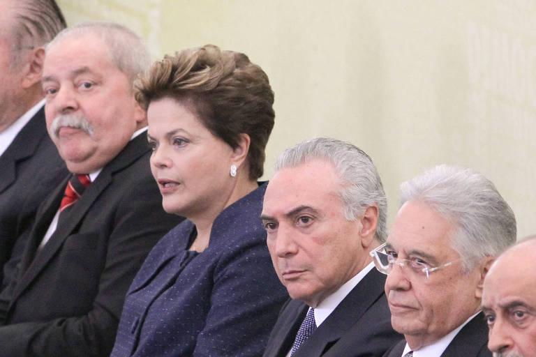 Lula, Dilma, Michel Temer e FHC na cerimônia de instalação da Comissão Nacional da Verdade