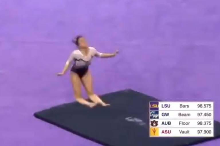 Ginasta Samantha Cerio quebra as duas pernas em competição universitária nos Estados Unidos