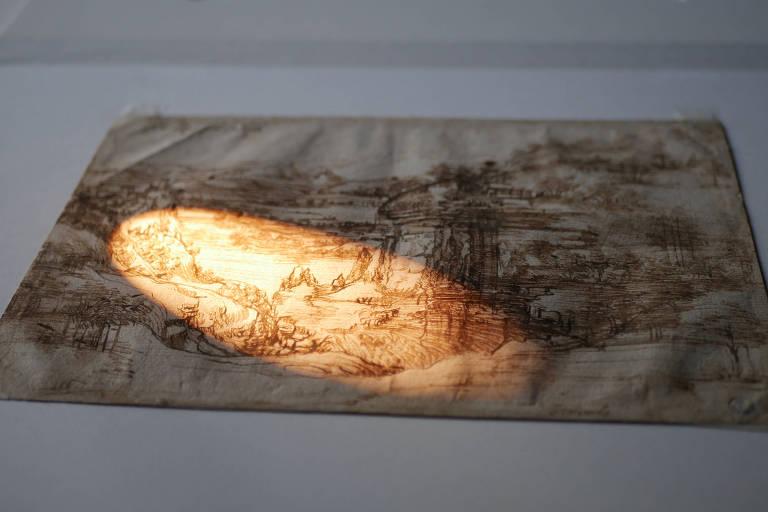 """Desenho intitulado """"Il Paesaggio"""", de Leonardo da Vinci, é analisado na Itália"""