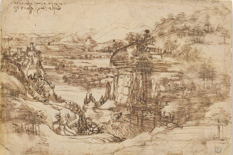 """Desenho intitulado """"Il Paesaggio"""", de Leonardo da Vinci"""