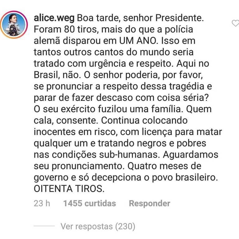 Comentário de Alice Wegmann em publicação de Jair Bolsonaro