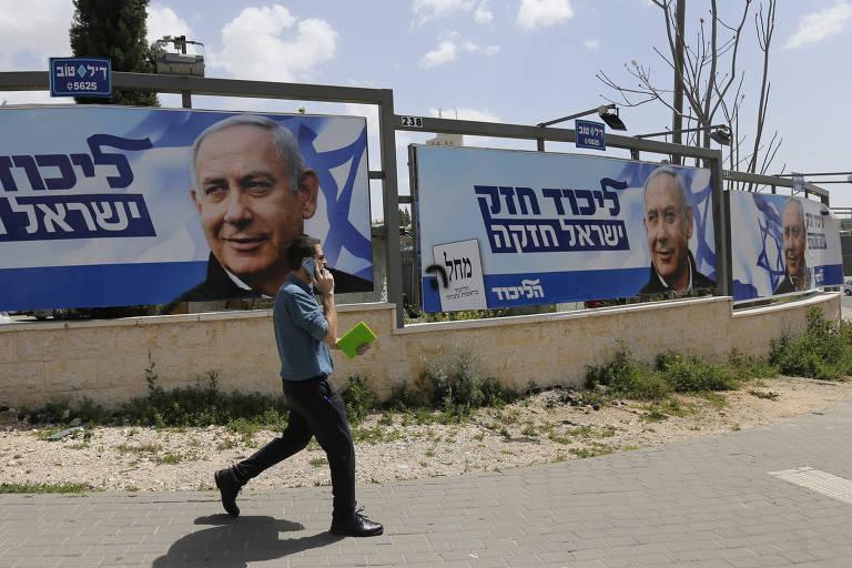 Cartazes de campanha de Netanyahu em Jerusalém, às vésperas da eleição