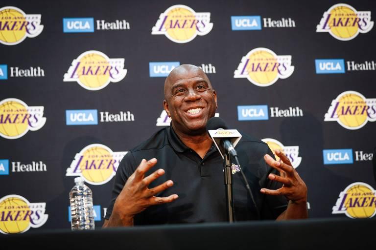 Magic Johnson foi o presidente do Los Angeles Lakers de 2017 a 2019