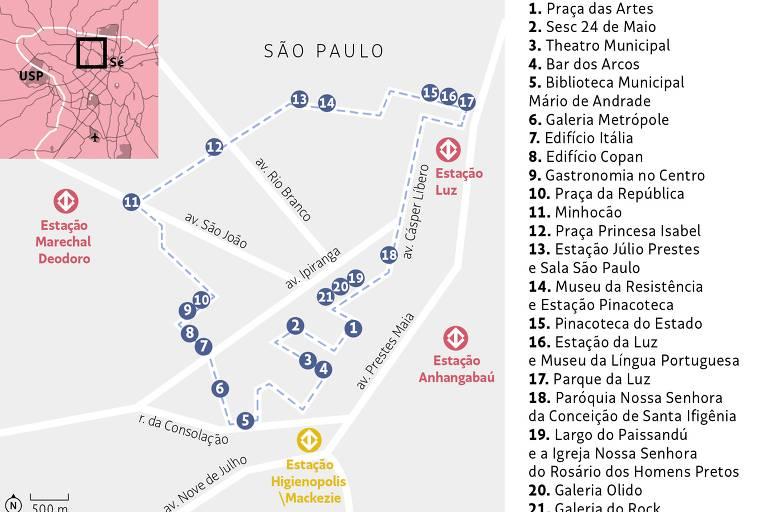 Mapa indica os pontos da nova rota do Bike Tour pelo Centro Novo
