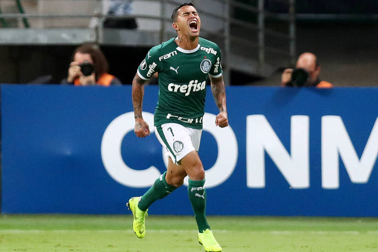Dudu vibra com gol marcado na vitória do Palmeiras sobre o Junior Barranquilla