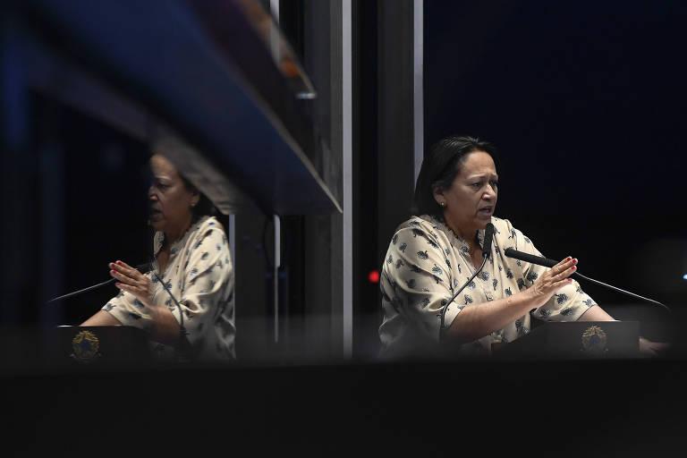 31.out.2018: Plenário do Senado Federal durante sessão deliberativa ordinária. Em discurso, à tribuna, senadora Fátima Bezerra (PT-RN).Foto: Marcos Oliveira/Agência Senado