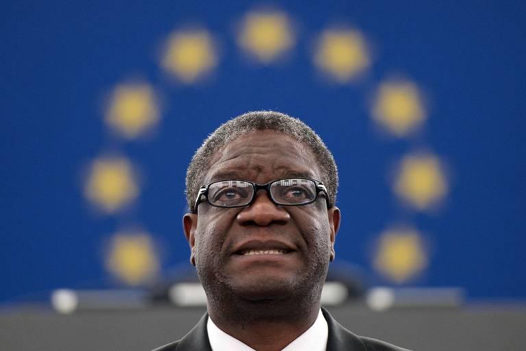 O médico congolês Denis Mukwege no Parlamento Europeu, em novembro de 2014