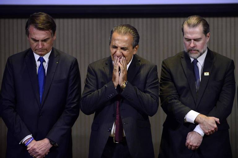 O presidente Jair Bolsonaro, o pastor Silas Malafaia e o presidente do STF, Dias Toffoli, durante almoço com líderes evangélicos no Rio