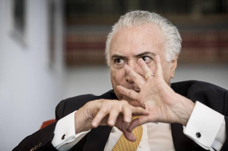 Michel Temer em entrevista à Folha, em abril