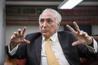 Entrevista exclusiva para a FOLHA com o ex Presidente Michel Temer (PMDB) no escritorio de seu advogado Eduardo Pizarro Carnelos, em Sao Paulo