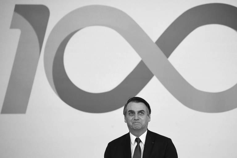 Jair Bolsonaro participa de cerimônia realizada para marcar os 100 primeiros dias do governo, no Palácio do Planalto