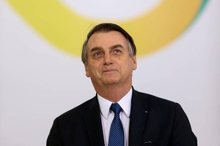 O presidente Jair Bolsonaro durante cerimônia em Brasília pelos cem dias de seu governo