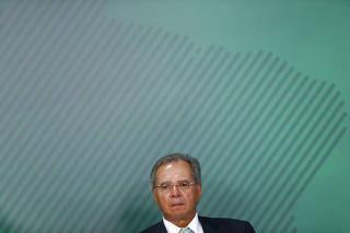 Paulo Guedes (Economia), durante cerimônia de sanção da lei do cadastro positivo
