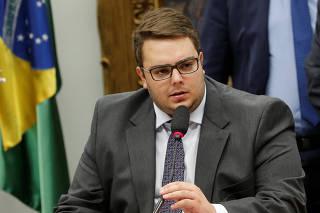Congressman Felipe Francischini speaks during a meeting at the National Congress in Brasilia