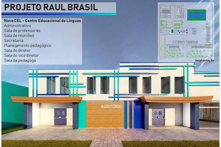 Fachada de auditório projetado para a Escola Estadual Raul Brasil, em Suzano (SP)