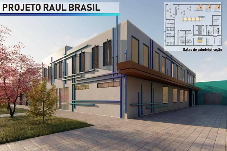 Prédio de auditório planejado para a escola Raul Brasil, em Suzano