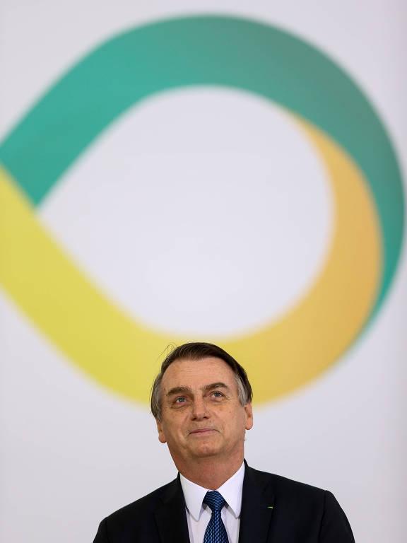 Jair Bolsonaro durante cerimônia realizada para marcar os primeiros 100 dias de governo, no Palácio do Planalto, em Brasília