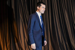 U.S. 2020 Democratic presidential candidate Pete Buttigieg walks off stage after speaking at the 2019 National Action Network National Convention in New York