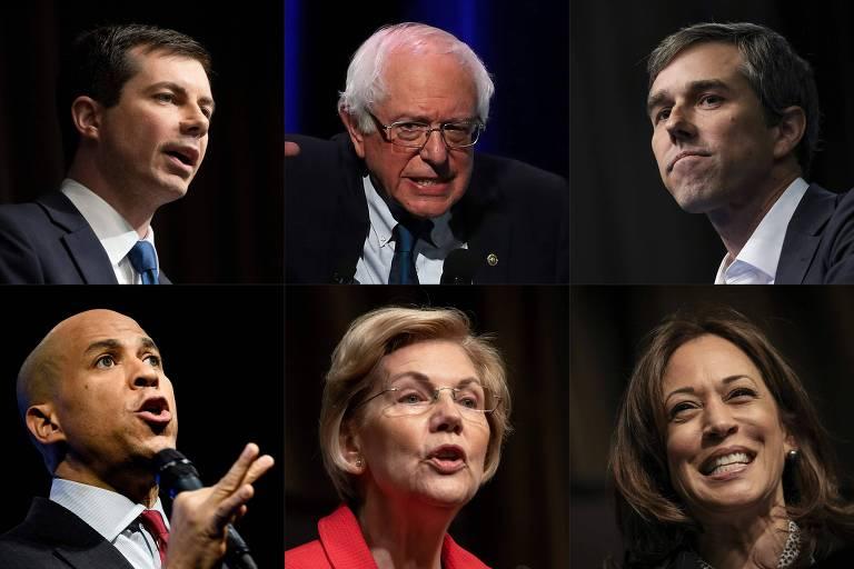 Retratos dos candidatos às prévias do Partido Democrata (em sentido horário): Pete Buttigieg, Bernie Sanders, Beto O'Rourke, Kamala Harris, Elizabeth Warren e Cory Booker