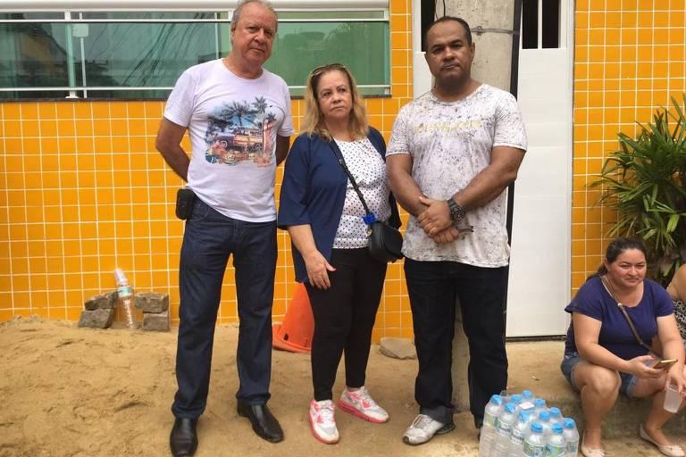 Sebastião Rodrigues, Lauriete Guedes (moradores) e João Oliveira, advogado de famílias do Palace 2