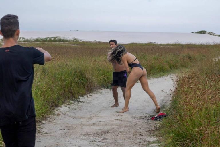 Imagem mostra Joyce agredindo homem em praia